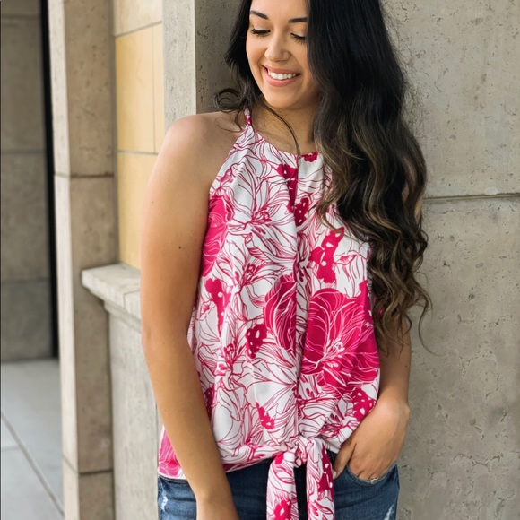 Serval Fashion Tops - Rose Boxwood Floral Tie Tank